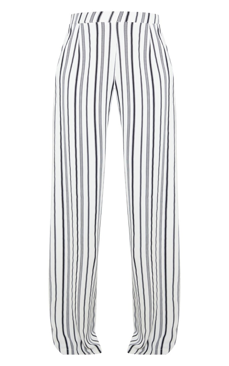 White Stripe Print Wide Leg Pants 3