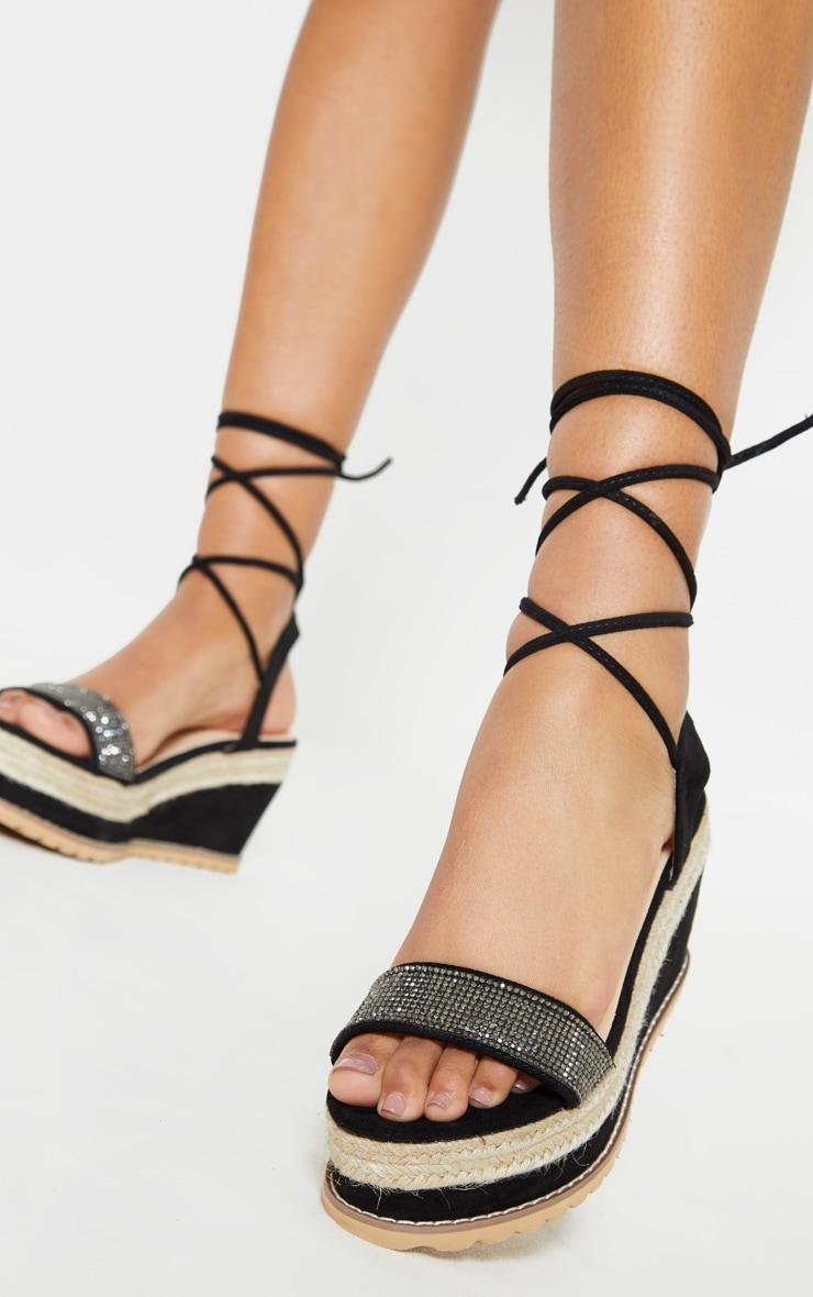 dc08f83103d1 Black Diamante Flatform Espadrille Sandal | PrettyLittleThing