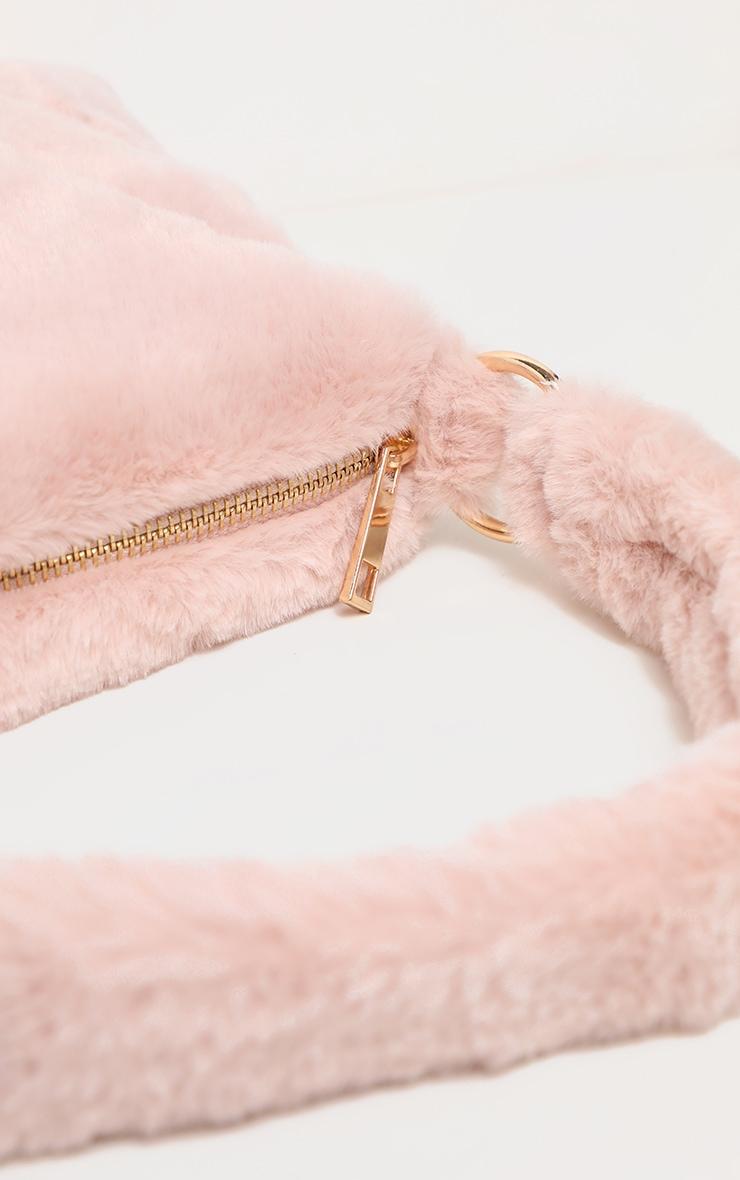 Dusty Pink Faux Fur Shoulder Bag 4