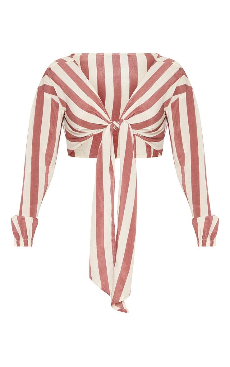 Tan Stripe Tie Front Shirt 3