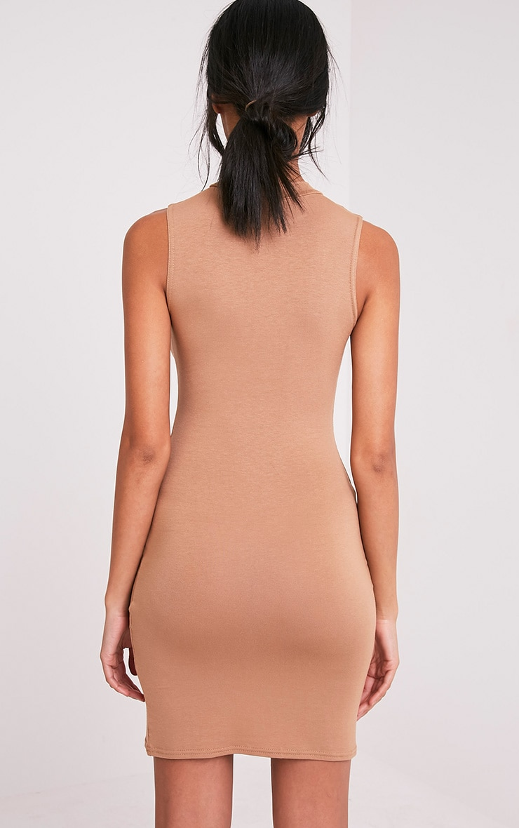 Rebecca Camel High Neck Bodycon Dress 2