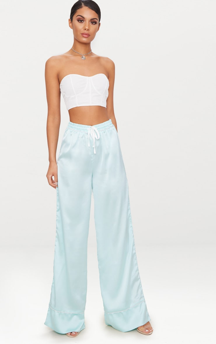 Mint Contrast Binding Satin Trousers 1