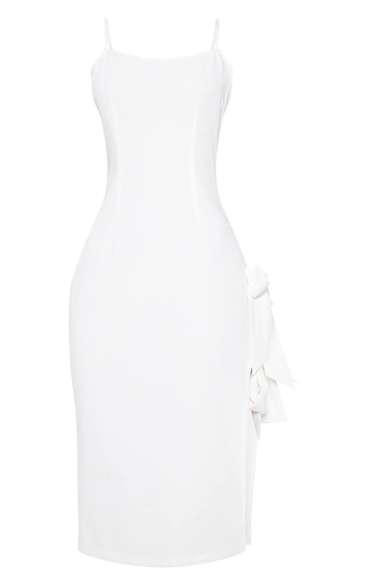 White Split Side Midi Dress 4
