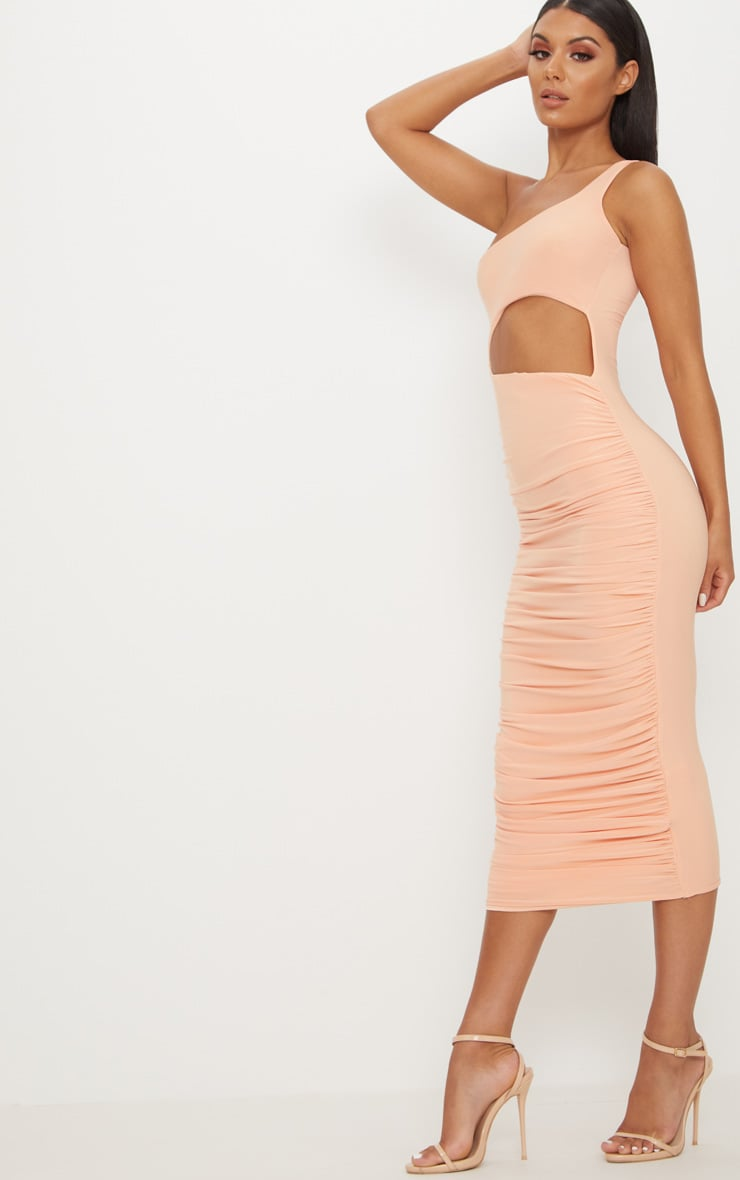 Tangerine Double Layer Slinky One Shoulder Cut Out Detail Ruched Midaxi Dress  4