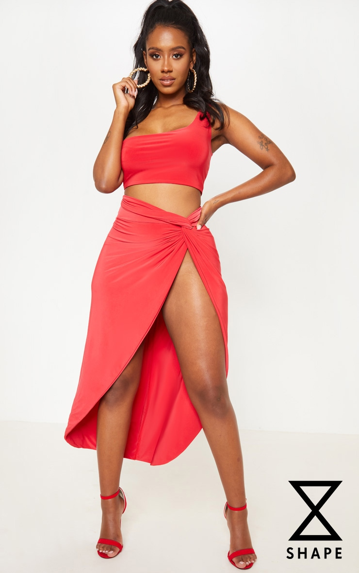 Shape Red Knot Front Split Maxi Skirt