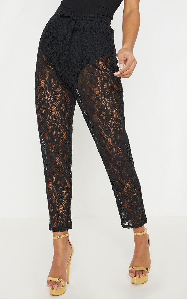 Black Drawstring Waist Lace Jogger 2