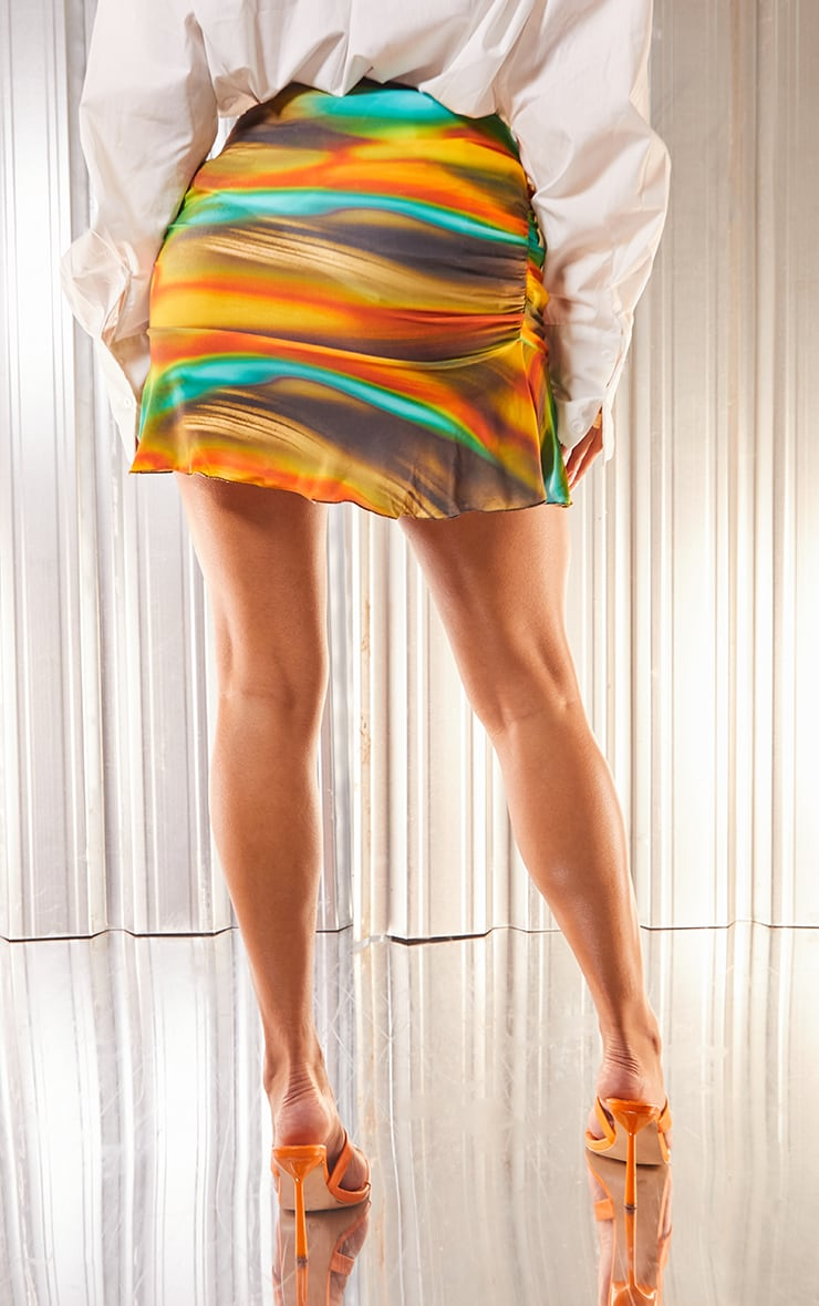 Multi Abstract Marble Print Slinky Ruched Frill Hem Mini Skirt 3
