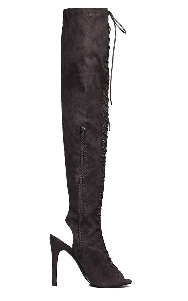 Valentina Grey Suede Lace Up Thigh Boots 7