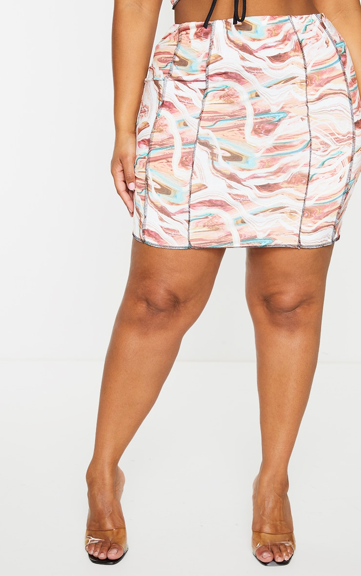 Plus Multi Marble Print Lace Up Contrast Stitch Skirt 2