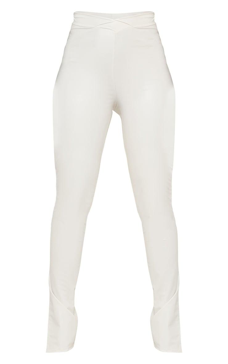 Shape Cream PU V Front Ruched Bum Split Hem Trousers 5
