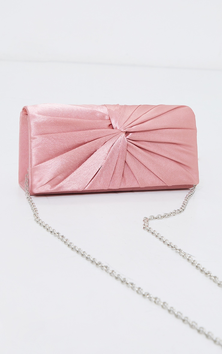 Pink Satin Ruched Knot Clutch 2