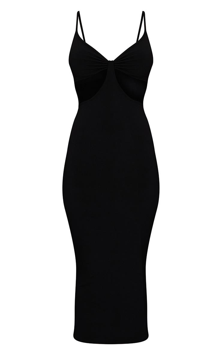 Robe mi-longue slinky noire découpée à bretelles 5