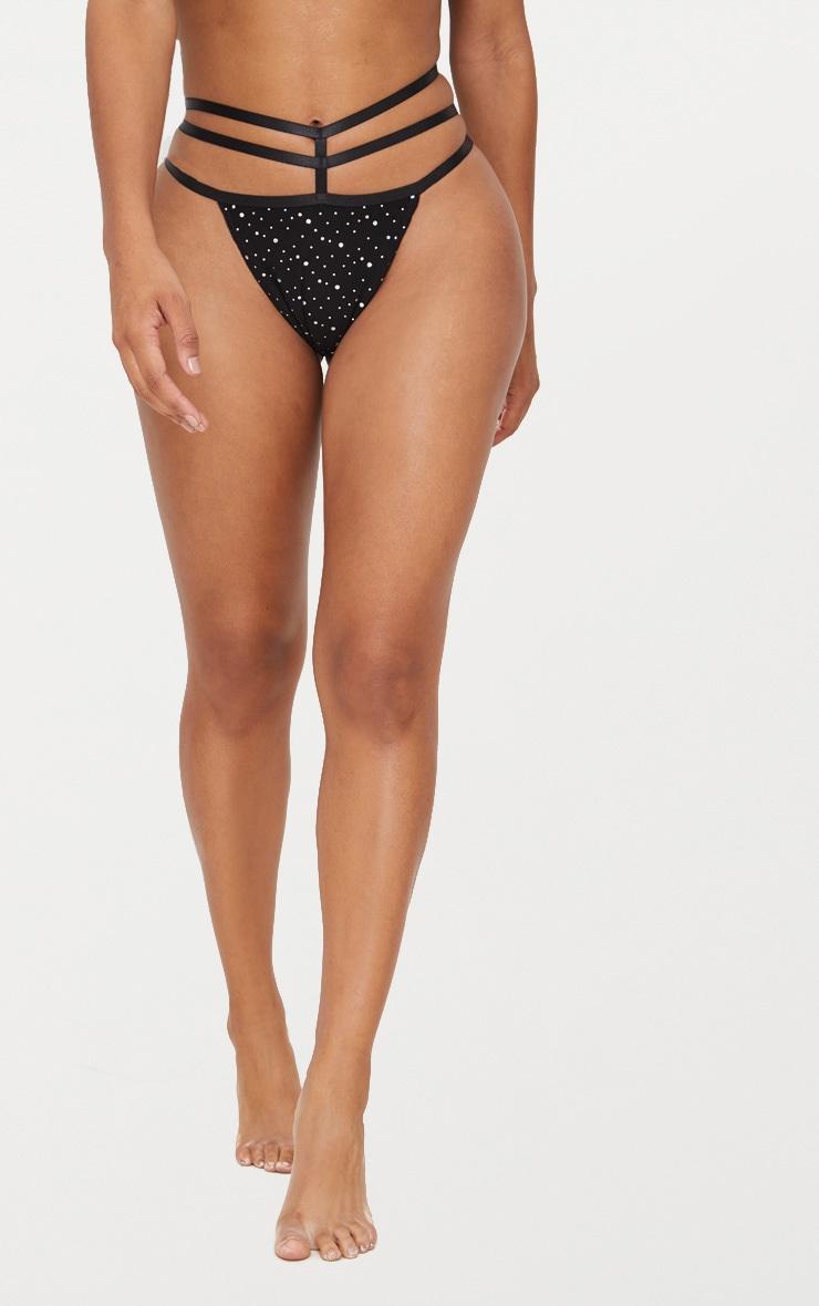 Black Multi Sparkle Strappy Thong 2