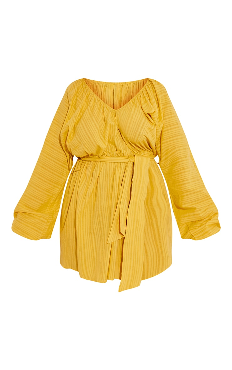 Plus Chartreuse V Neck Stripe Detail Tie Waist Dress 5