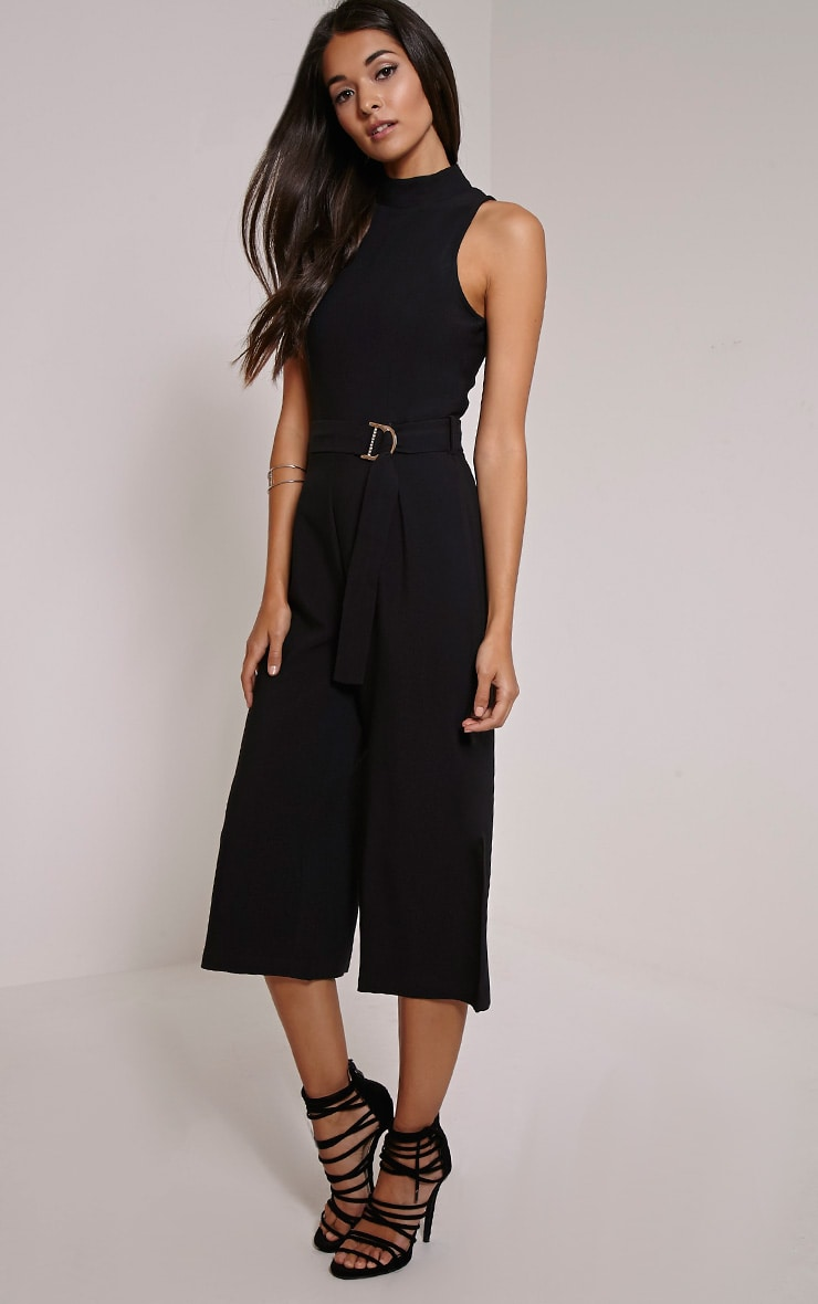 Candace Black High Neck D Ring Culotte Jumpsuit 1