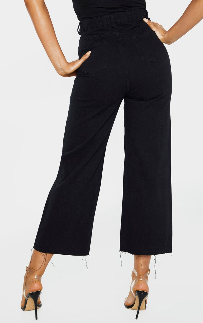 Tall Black Wide Leg Cropped Jeans 4