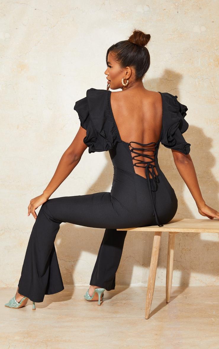 Black Lace Back Frill Sleeve Jumpsuit 1