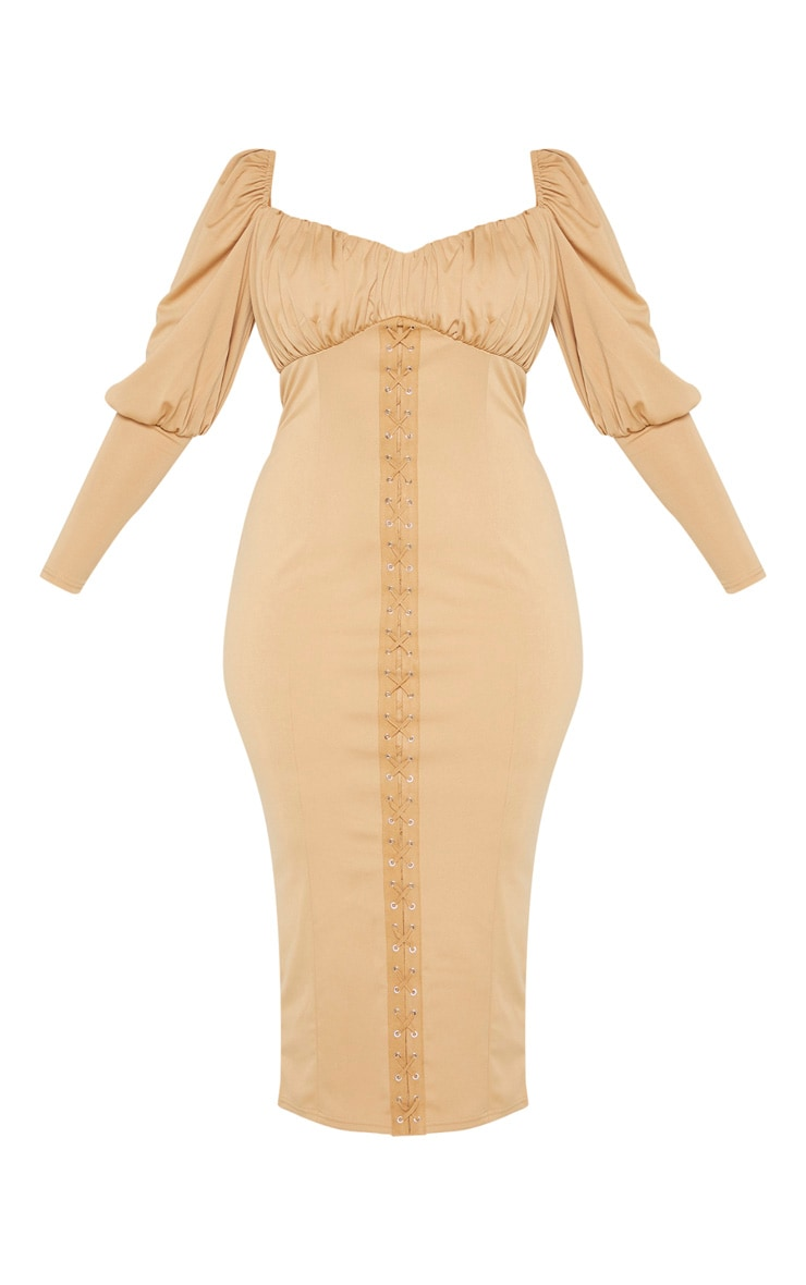 Plus Camel Lace Up Square Neck Puff Sleeve Midaxi Dress 3