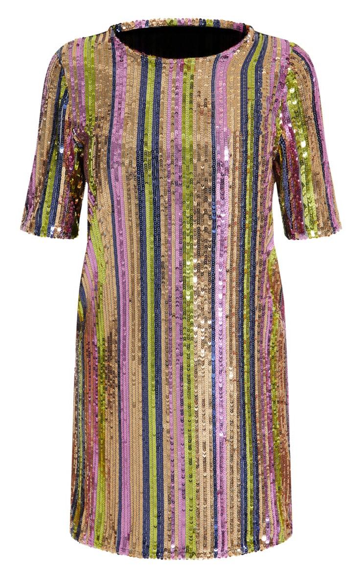 Pink Stripe Sequin T Shirt Dress  3