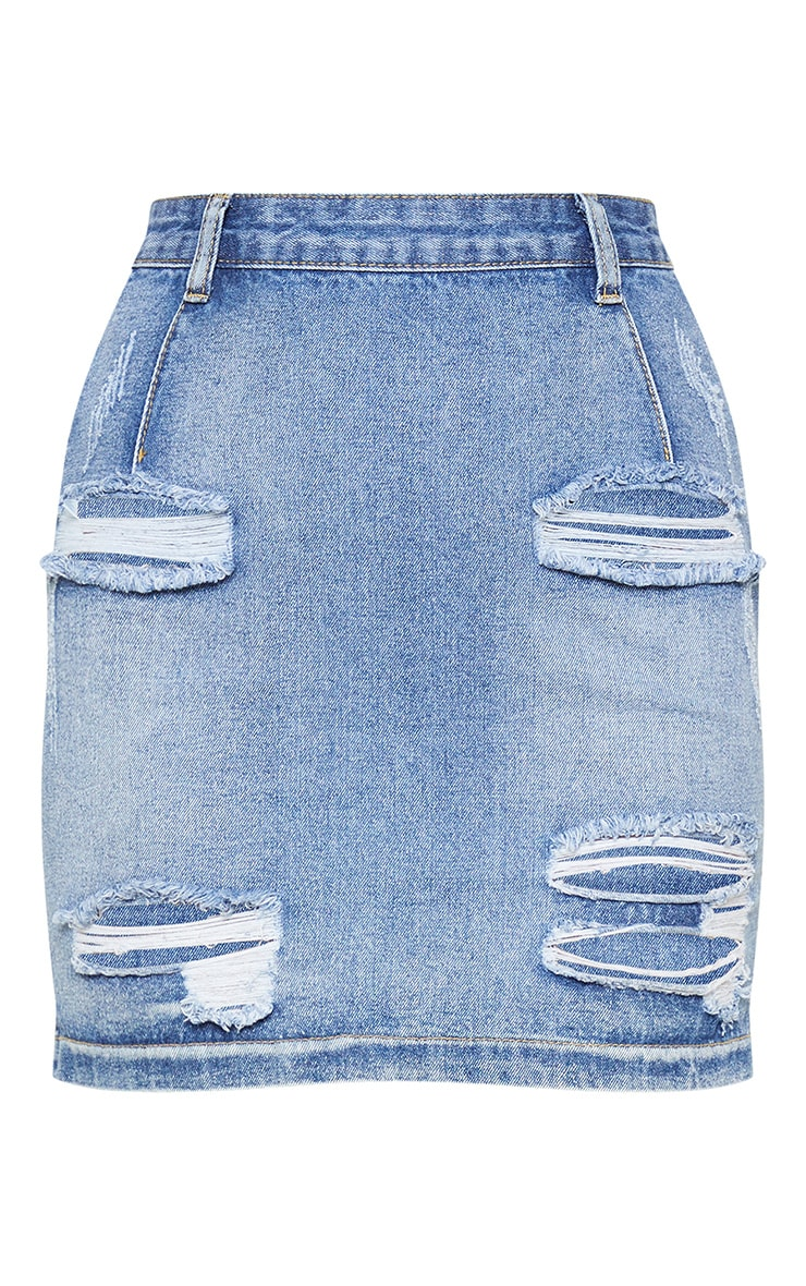 Roschian Vintage Wash Super Distress Denim Mini Skirt  3