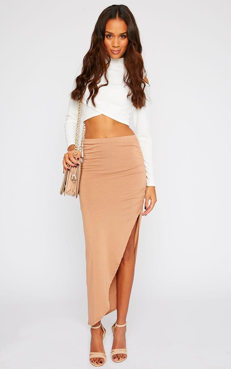 Etta Camel Ruched Jersey Maxi Skirt 1