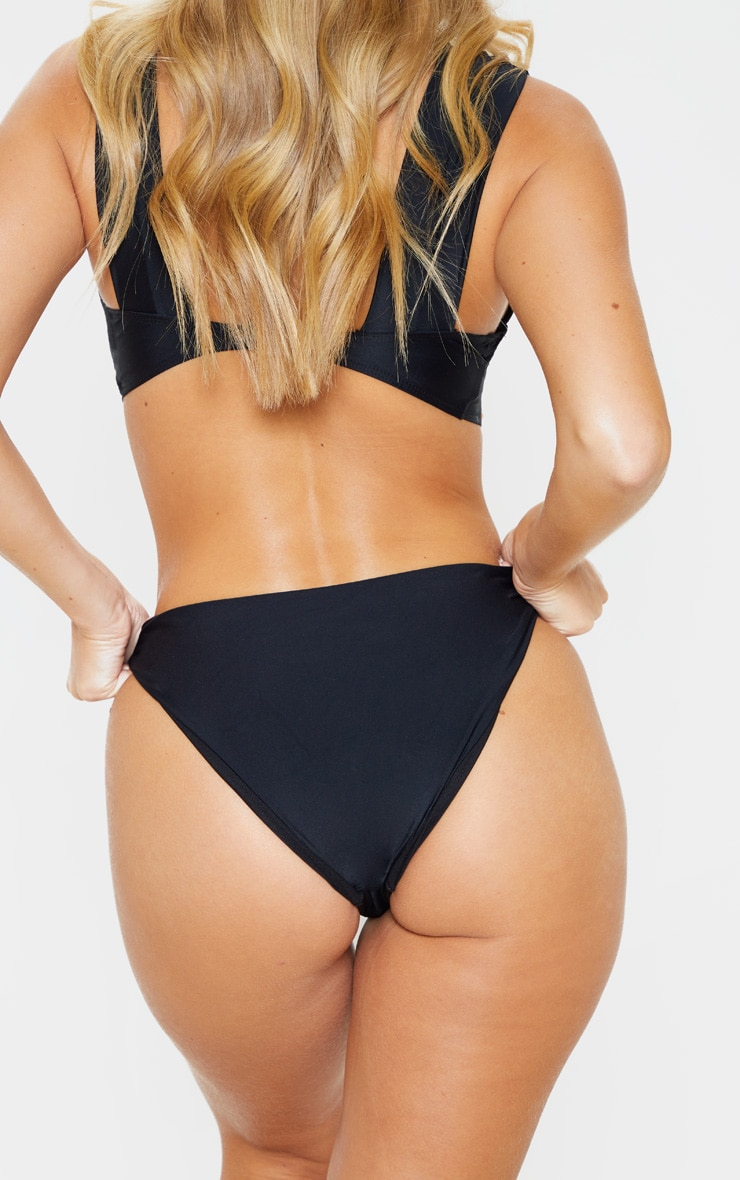 Black V Front High Bikini Bottom 4