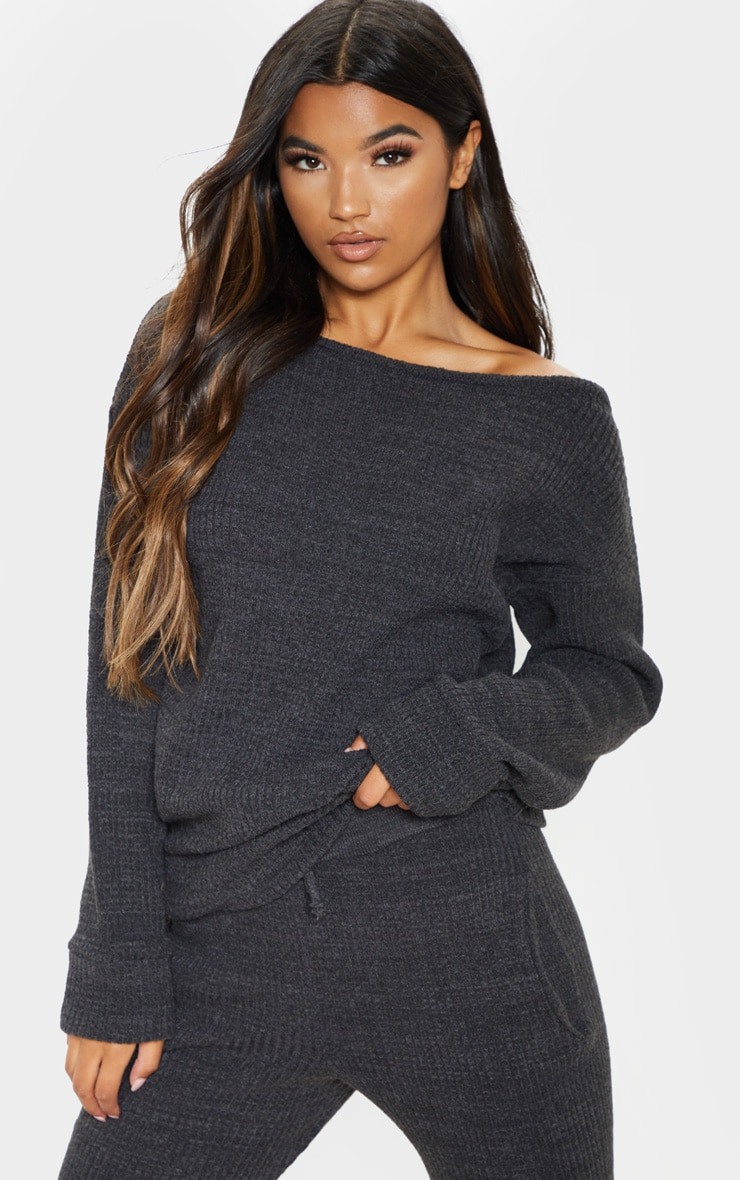Charcoal Knitted Rib Jogger Co Ord 4