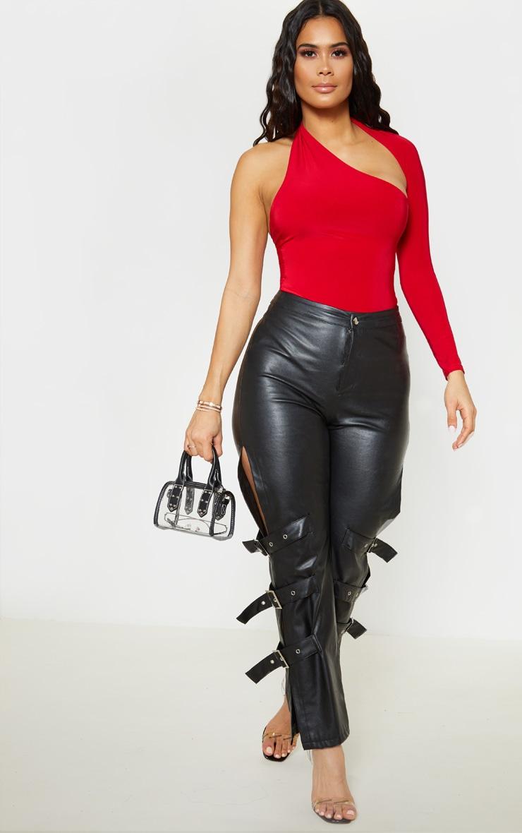 Red One Shoulder Asymmetric Bodysuit 5
