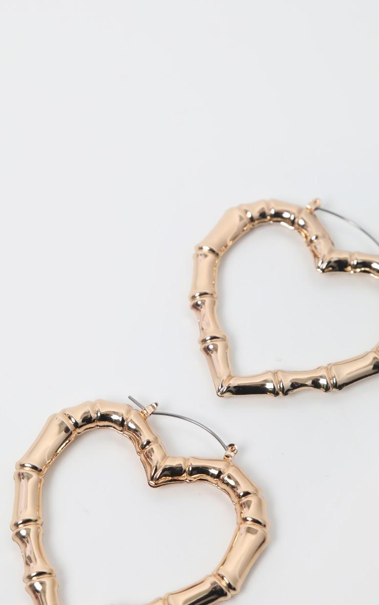 Gold Bamboo Heart Earrings 3