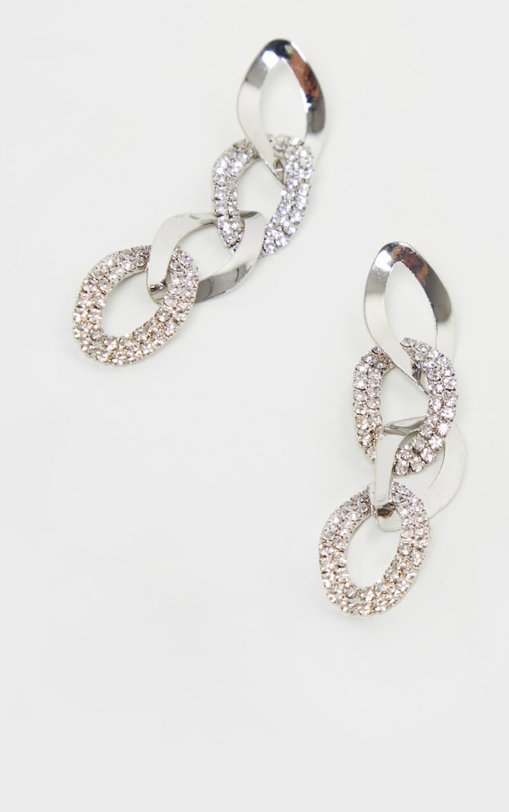 Silver Diamante Link Chain Drop Earrings 3