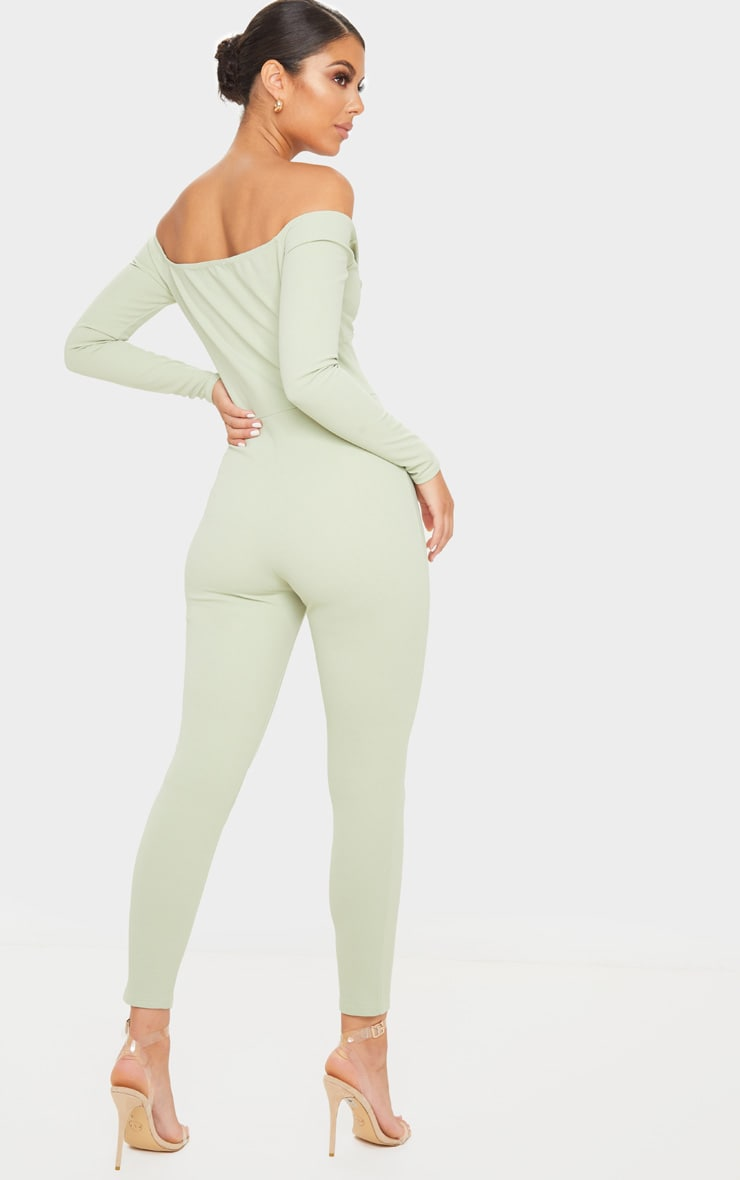 Sage Green Bardot Twist Front Jumpsuit 2
