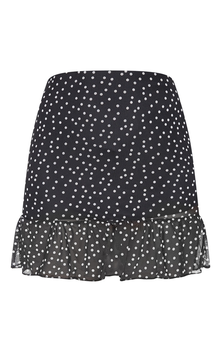 Black Polkadot Mesh Frill Hem Mini Skirt 3