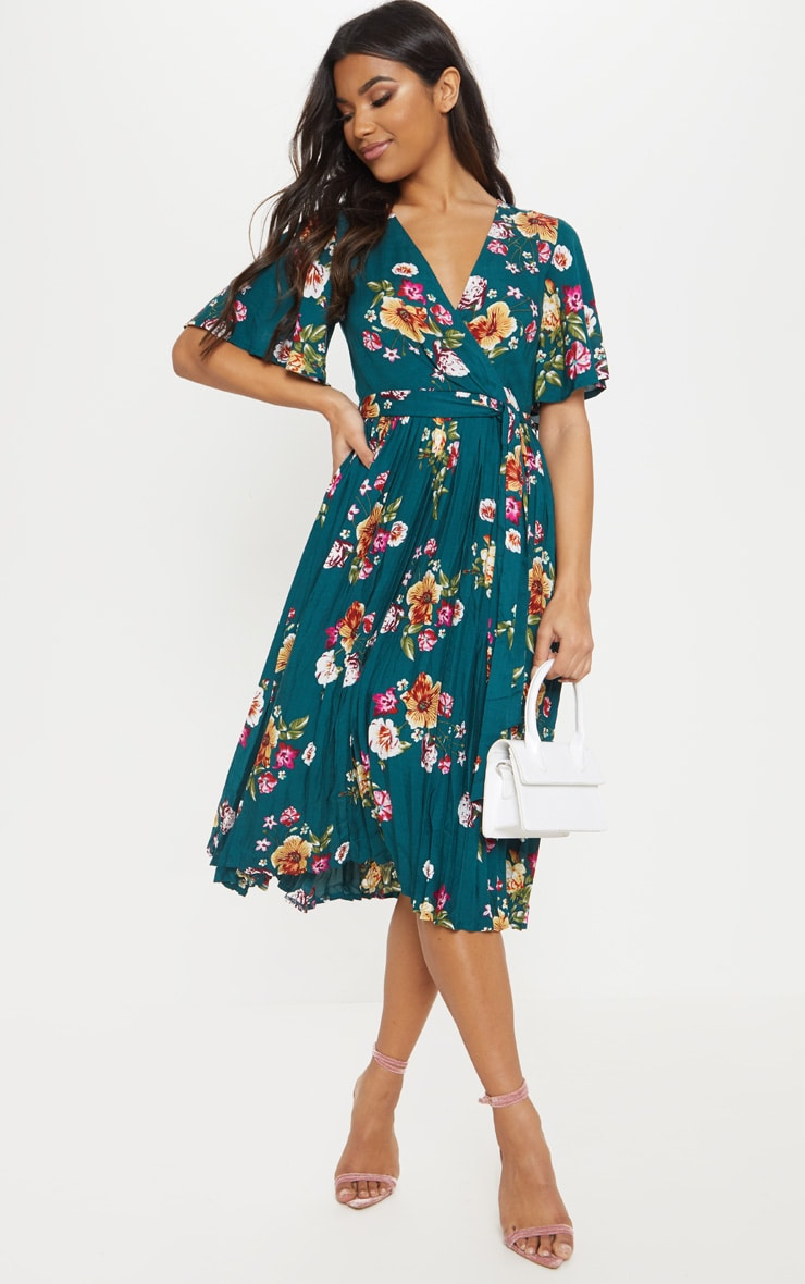 Emerald Green Floral Pleated Midi Dress 1