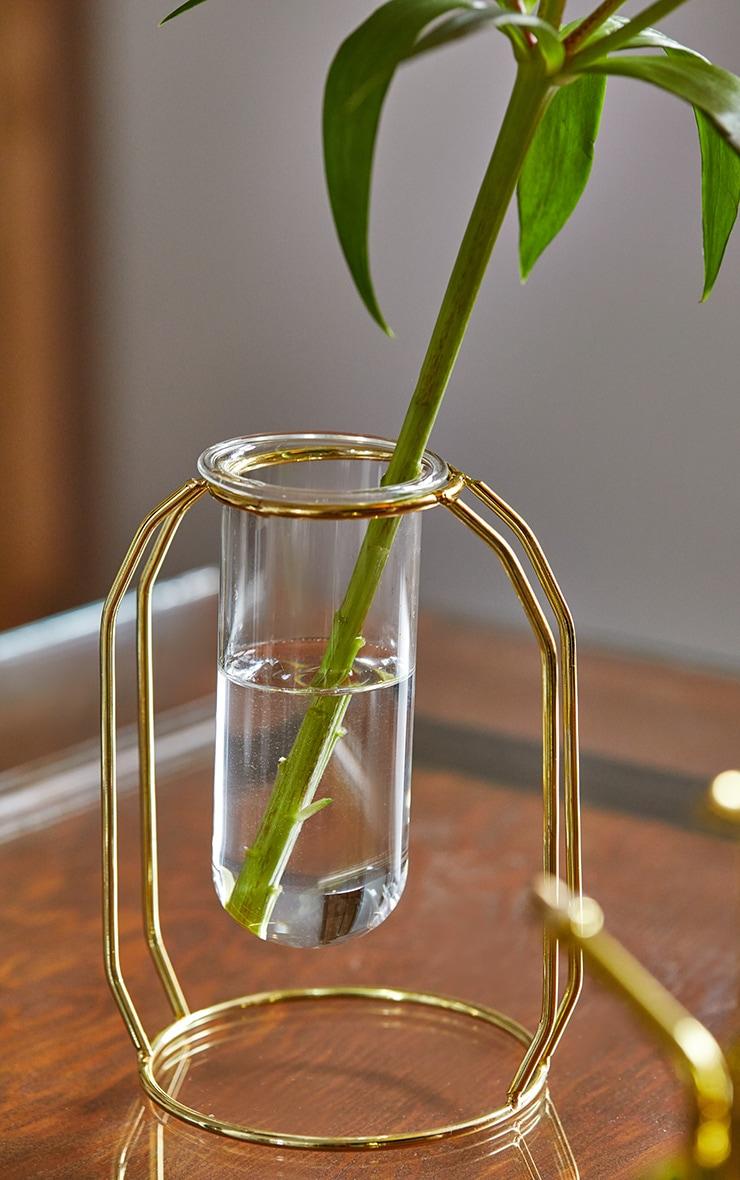 Gold Tube Frame Vase 2