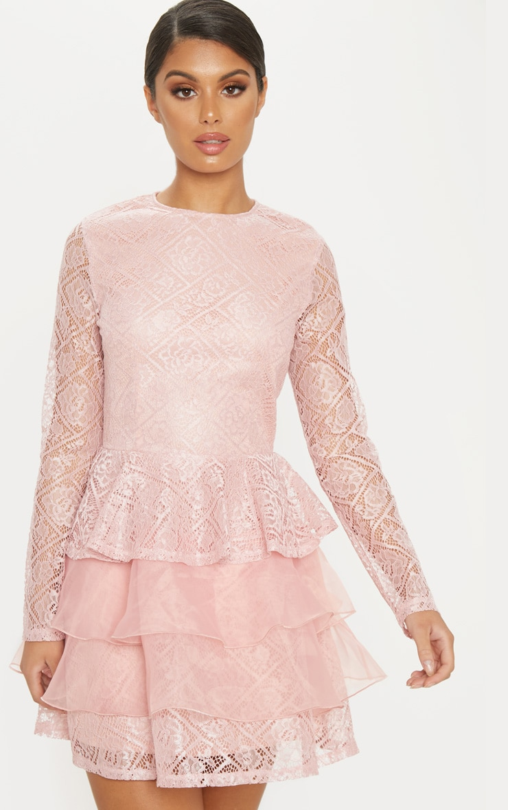 Dusty Pink Lace Long Sleeve Tiered Skater Dress image 1 d312079a0