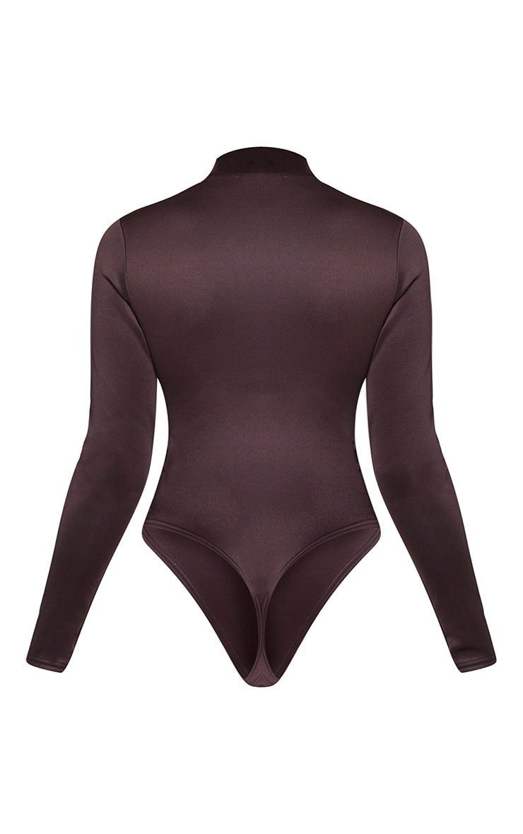 Chocolate Bonded Scuba High Neck Zip Bodysuit 6