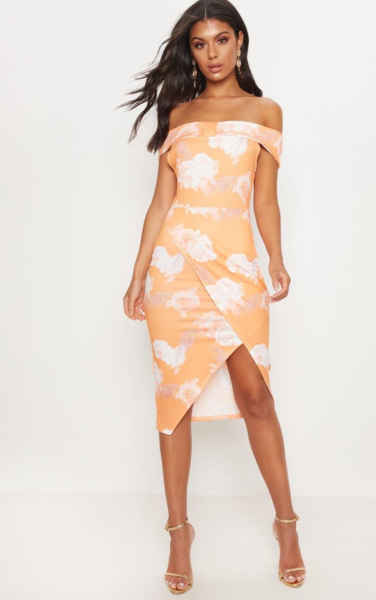 Tangerine Floral Print Bardot Bow Detail Wrap Midi Dress 1