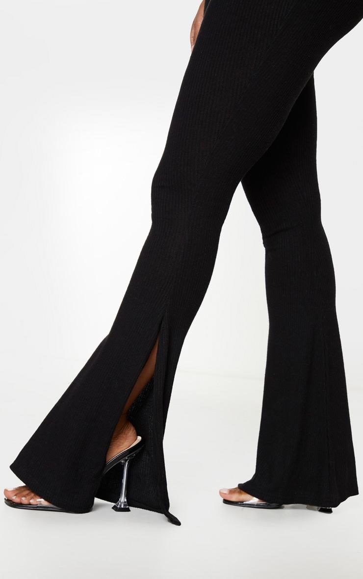 Shape - Pantalon fendu noir en maille côtelée brossée 4