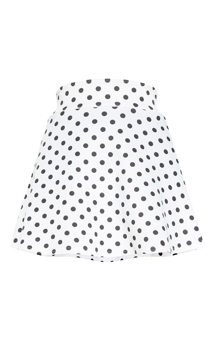Polka Dot Printed Scuba Flippy Mini Skirt  3