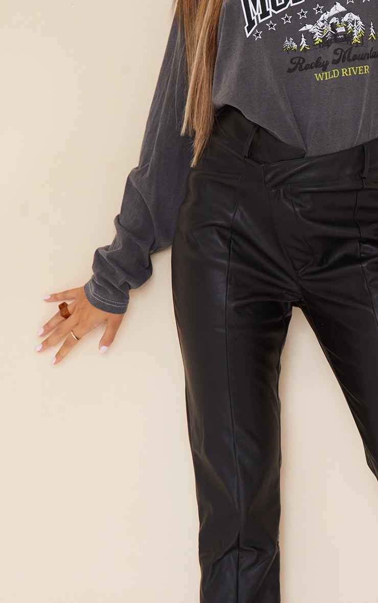Black Faux Leather V Front Straight Leg Trousers 4