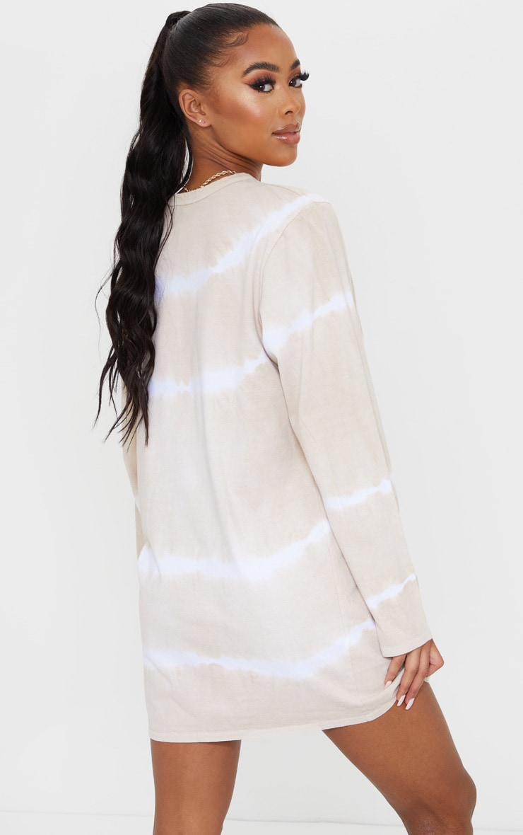 Beige Tie Dye Long Sleeve T Shirt Dress 2