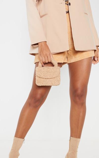 Biscuit Faux Shearling Mini Grab Bag
