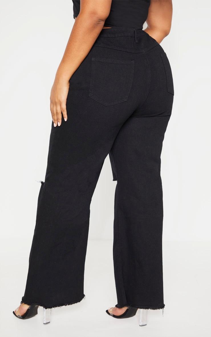 Plus Black Wide Leg Knee Rip Jean 4