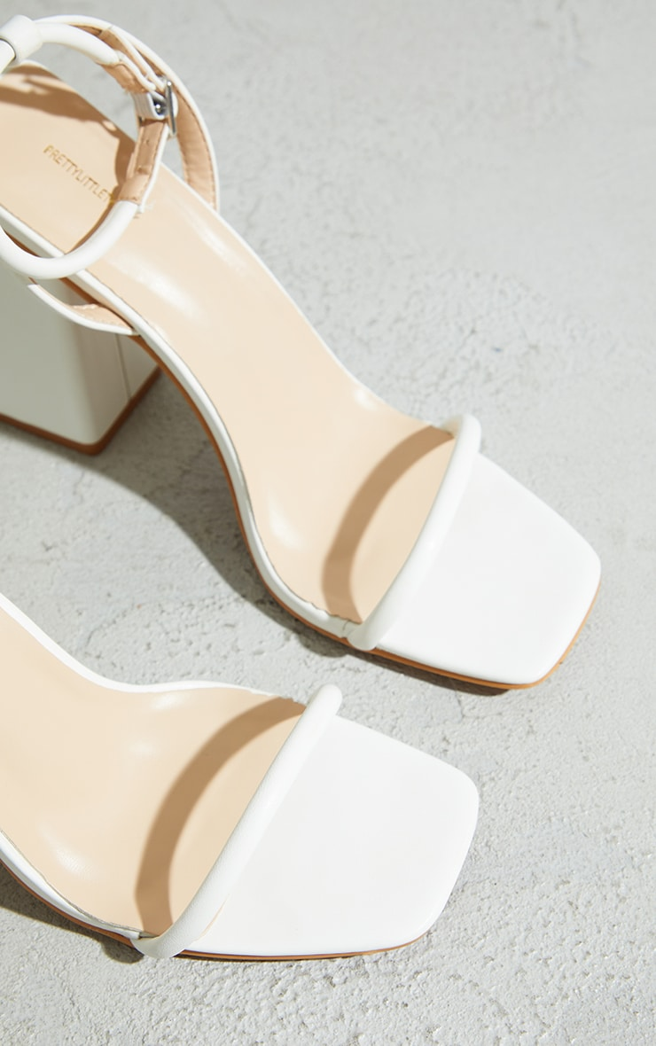 White Barely There Block Heeled Sandals 4