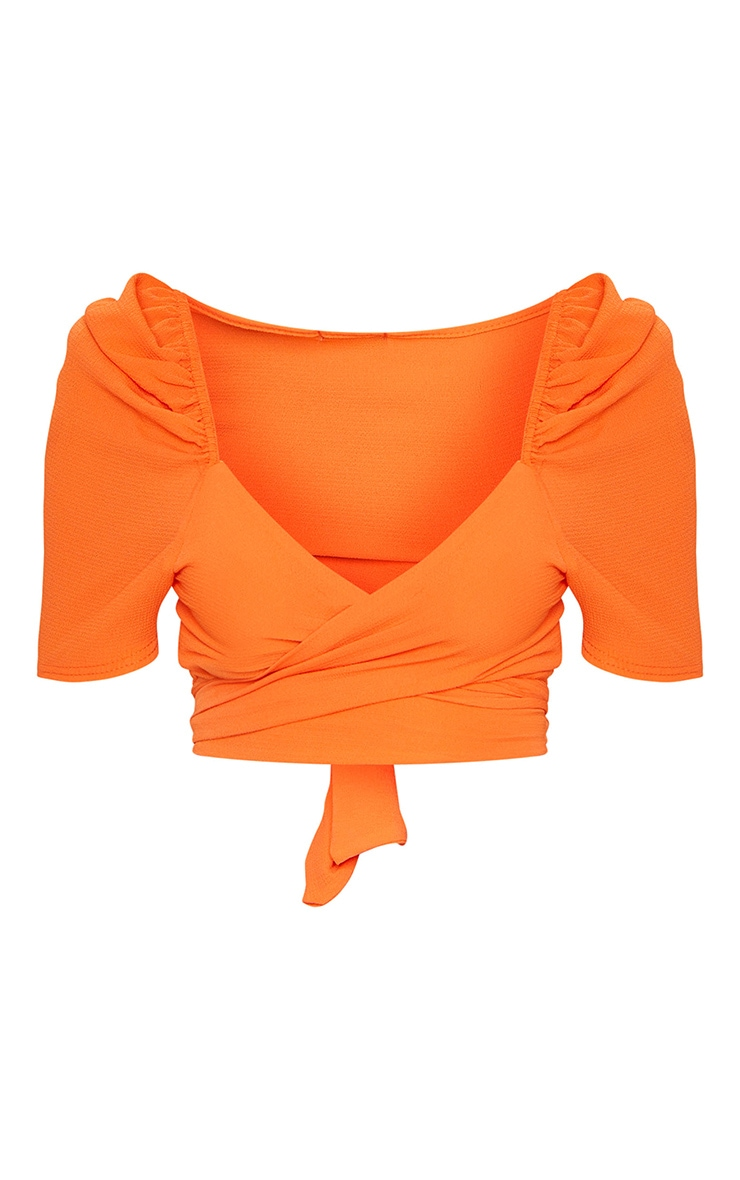 Orange Puff Short Sleeve Tie Crop Blouse 5