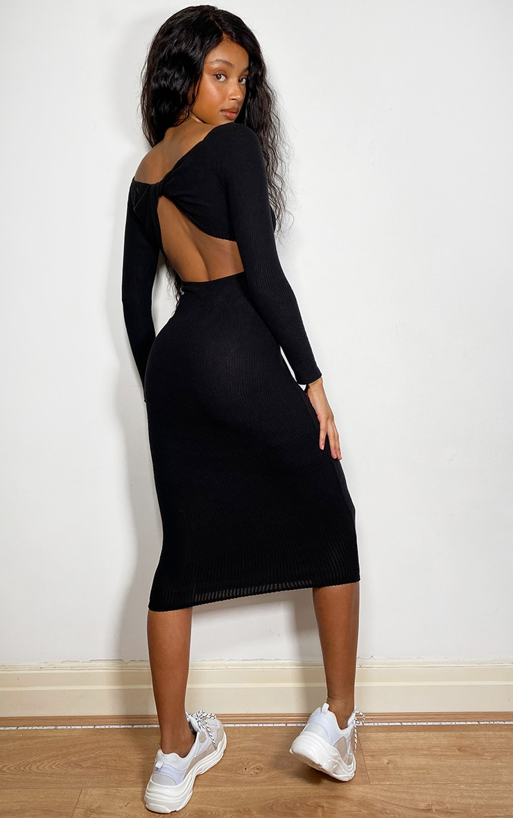 Black Brushed Rib Twist Back Bardot Midi Dress 1