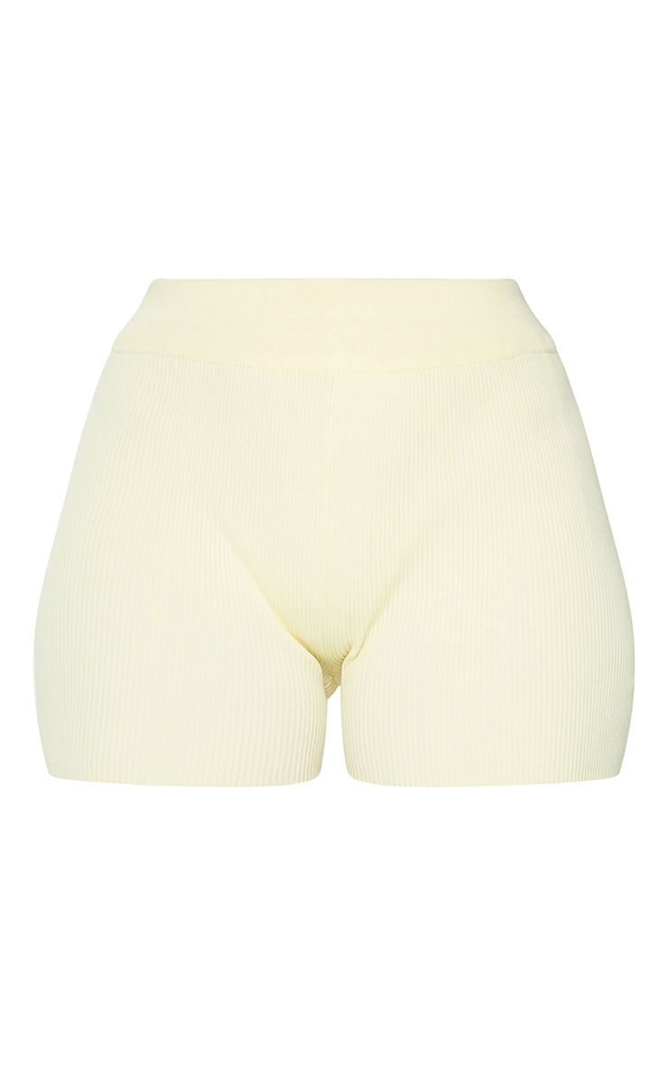 Lemon Ribbed Knitted High Waist Hotpant Shorts 6