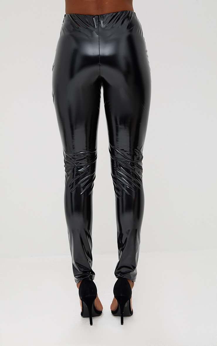 Black Vinyl Skinny Lace Up Trousers 4