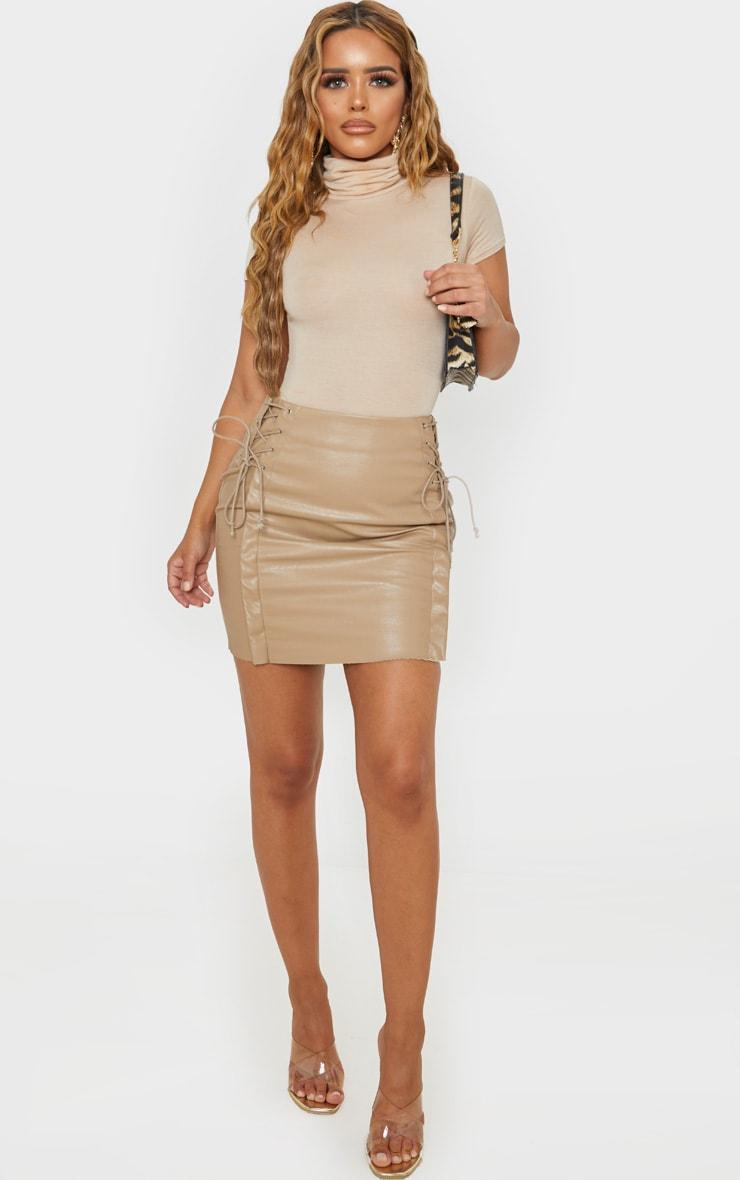 Petite Taupe Lace Up Side PU Mini Skirt 5