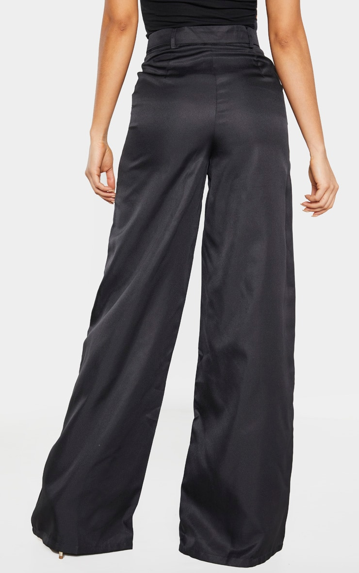 Tall Black Belted Cargo Wide Leg Trouser  4